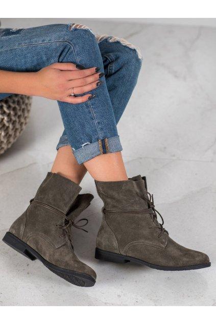 Sivé dámske topánky na plochom podpätku Filippo kod DBT1085/19G