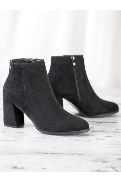 Čierne dámske topánky na hrubom podpätku Goodin kod HF195B