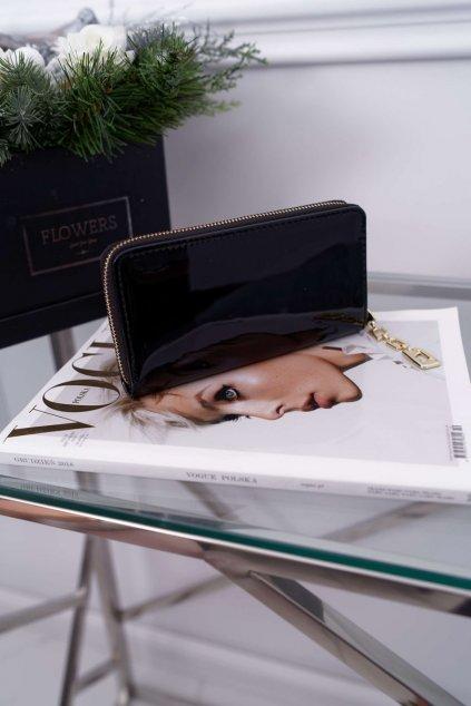 Dámska Peňaženka Velká čierna se Zlatým Dekorativním zipem