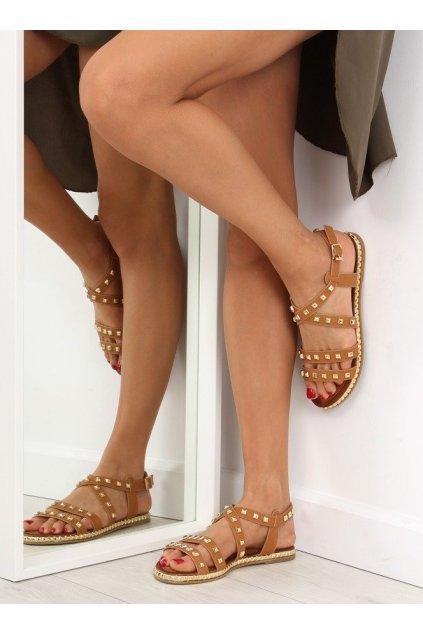 Dámske sandále hnedé na plochom podpätku WL193