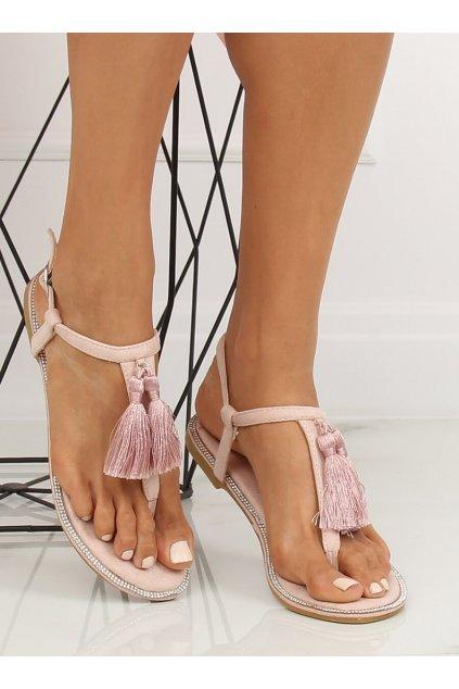 Dámske sandále ružové na plochom podpätku 7263