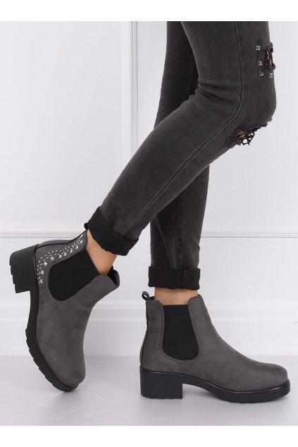 Dámske členkové topánky sivé na širokom podpätku Z175