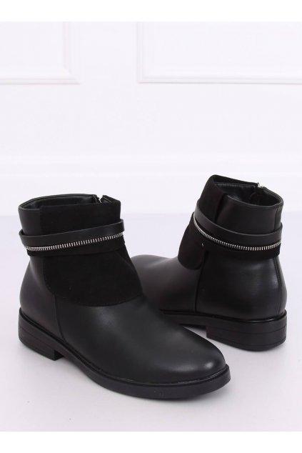 Dámske členkové topánky čierne na plochom podpätku HFN-2276-2