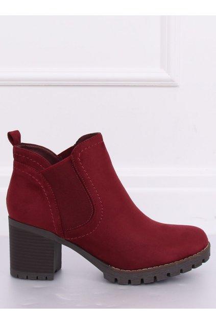 Dámske členkové topánky červené na širokom podpätku 8B879