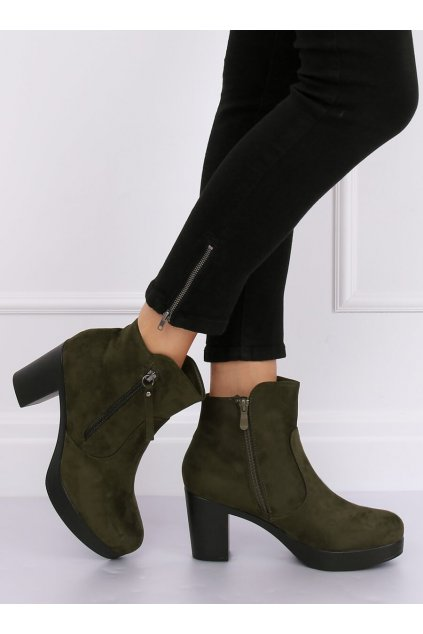 Dámske členkové topánky zelené na širokom podpätku 8B882