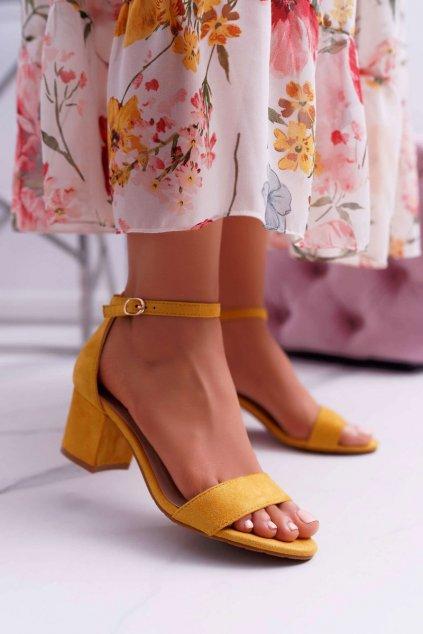 Dámske Semišové Sandále na podpätku žlté Zephira
