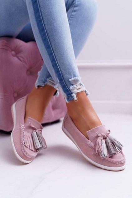 Dámske mokasíny farba ružová kód obuvi 9PB32-1078 LT.PINK