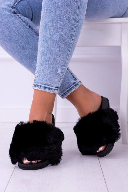 Lu Boo čierne papuče s kožíškem Maroon FUR XXL