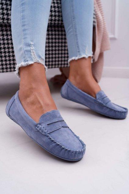 Dámske mokasíny farba modrá kód obuvi T348 BLUE