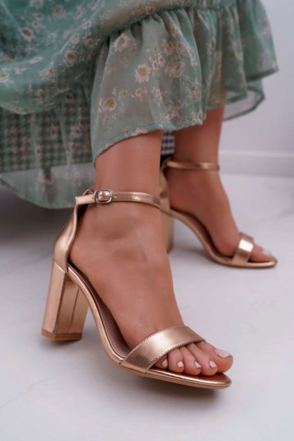 Dámske Sandále na podpätku Klasické Champagne Fiji