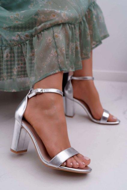 Dámske Sandále na podpätku Klasické strieborné Fiji
