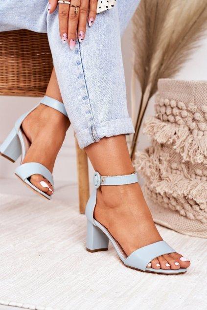 Dámske sandále na podpätku farba modrá kód obuvi 20SD98-1617 BLUE