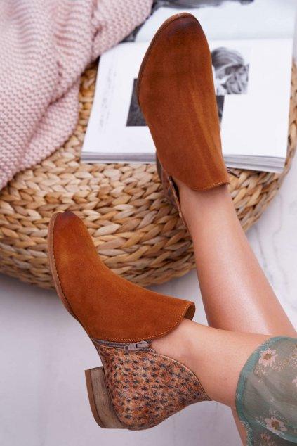 Členkové topánky na podpätku farba hnedá kód obuvi 04091-49/00-5 GINGER