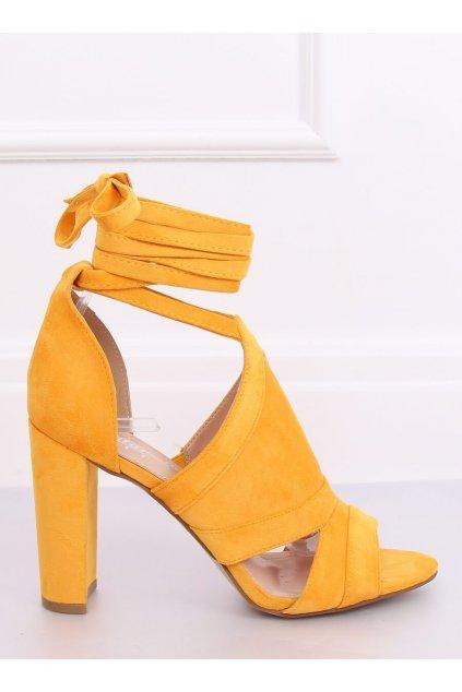 Damske sandále žlté na stĺpovom podpätku NS112P
