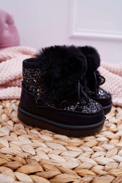 Detské snehule s kožušinou čierne Minnie Mouse 20216-1A/2A BLK