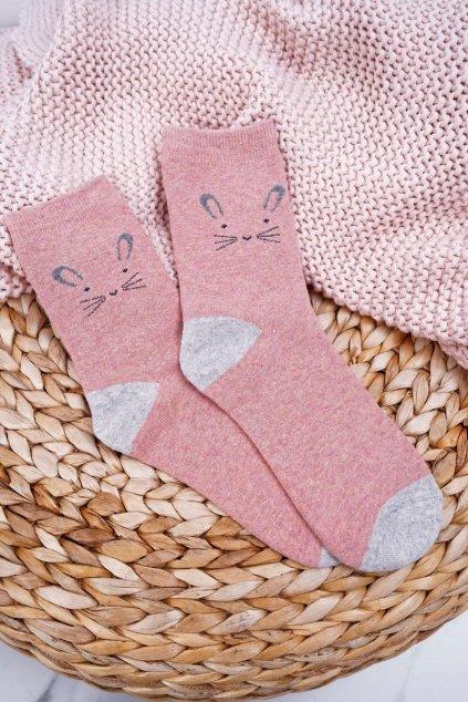 Dámske Ponožky Teplé tmavo Ružové s Králíkem