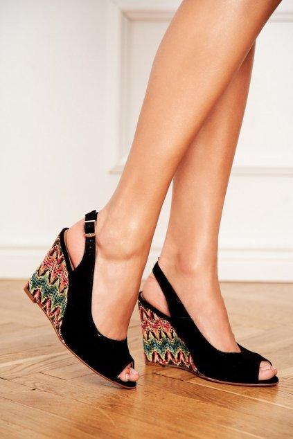 Dámske Sandále na platforme Laura Messi Kožené čierne 1964