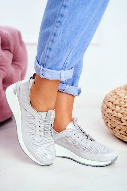 Dámske tenisky farba sivá kód obuvi 20PB32-1792 SILVER