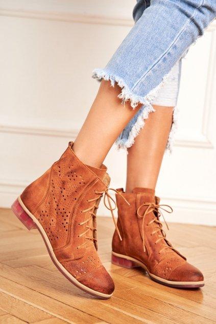 Členkové topánky na podpätku farba hnedá kód obuvi 04468-29/00-5 RUDY
