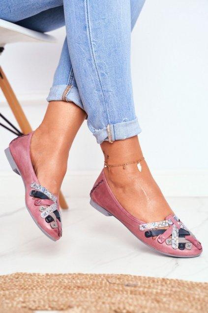Dámske balerínky farba ružová kód obuvi 01358-15/00-0 PINK