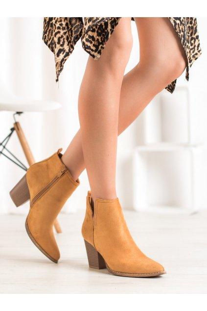 Hnedé dámske topánky na hrubom podpätku Seastar kod ZE03C
