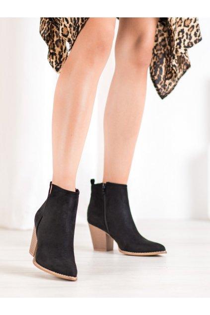 Čierne dámske topánky na hrubom podpätku Seastar kod ZE03B