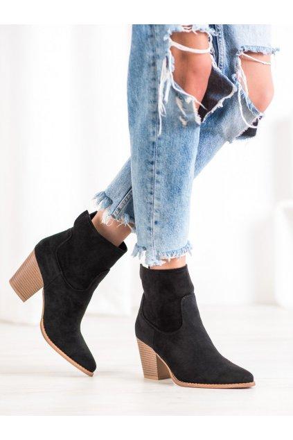 Čierne dámske topánky na hrubom podpätku Seastar kod ZE02B