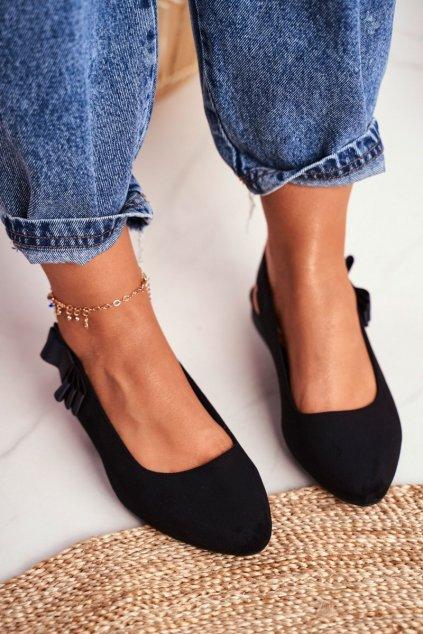 Dámske balerínky farba čierna kód obuvi BL615 BLK