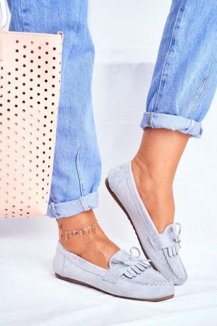 Dámske mokasíny farba modrá kód obuvi 77-202 BLUE