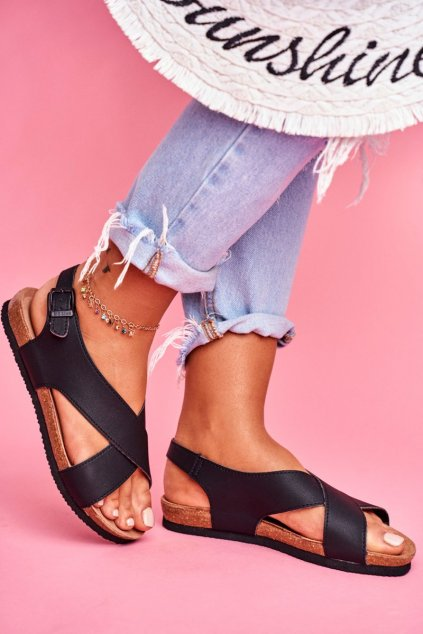 Dámske Sandále B. Star ploché čierne FF274621