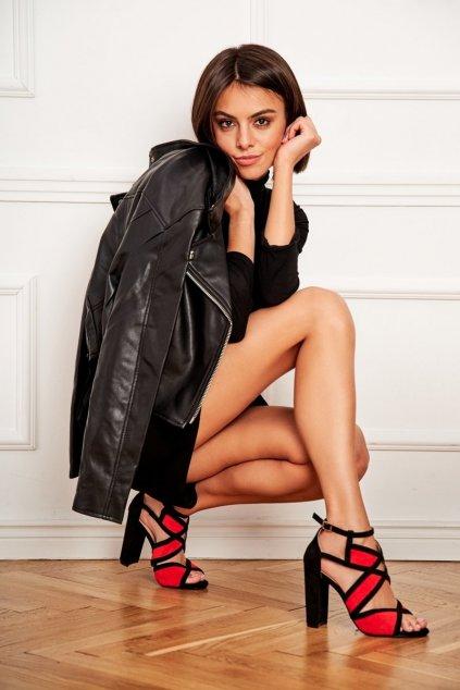 Dámske sandále farba čierna kód obuvi LE071P RED
