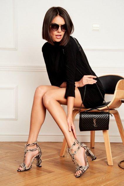 Dámske sandále na podpätku farba čierna kód obuvi LE070P SNAKE KHAKI