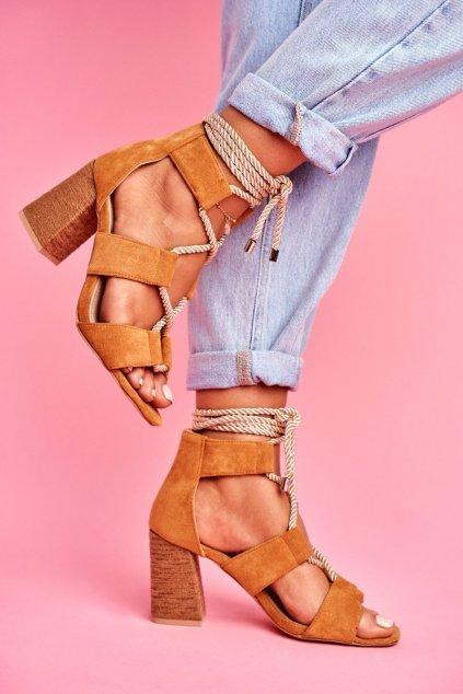 Dámske Sandále na podpätku Šnerované Semišové ťavia Amore