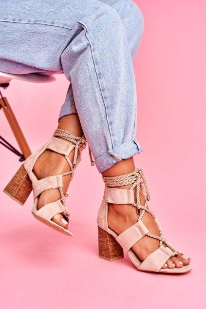 Dámske Sandále na podpätku Šnerované Semišové Béžové Amore