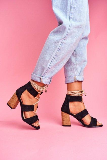 Dámske Sandále na podpätku Šnerované Semišové čierne Amore