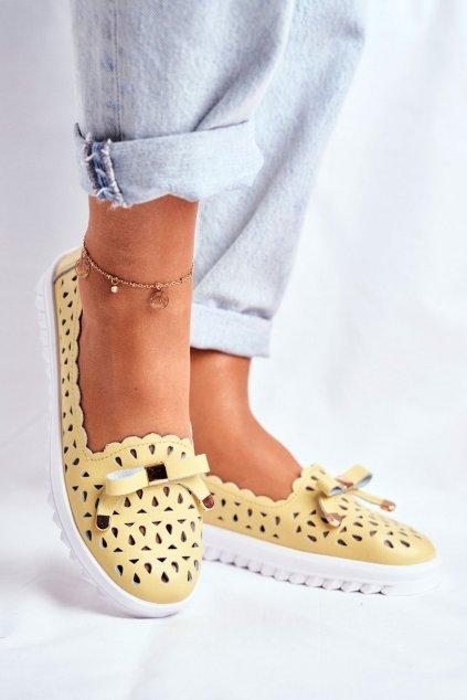 Dámske mokasíny farba žltá kód obuvi LR71515 YELLOW