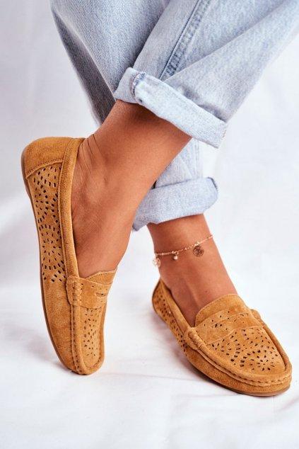Dámske mokasíny farba hnedá kód obuvi LR92309 CAMEL