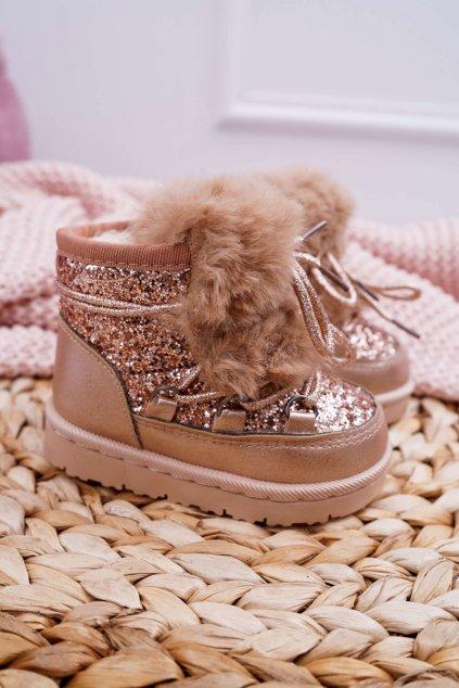 Detské členkové topánky Snehule s kožušinou Champagne Minnie Mouse 20216-1H/2H CHAMPAGNE