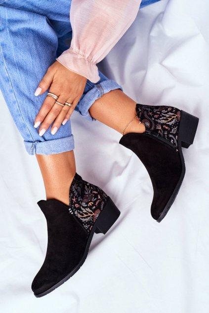 Dámske členkové topánky na nízkem Podpatku jarné čierne Elizabeth