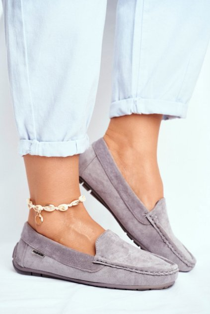 Dámske mokasíny farba sivá kód obuvi 20PB26-2190 GREY