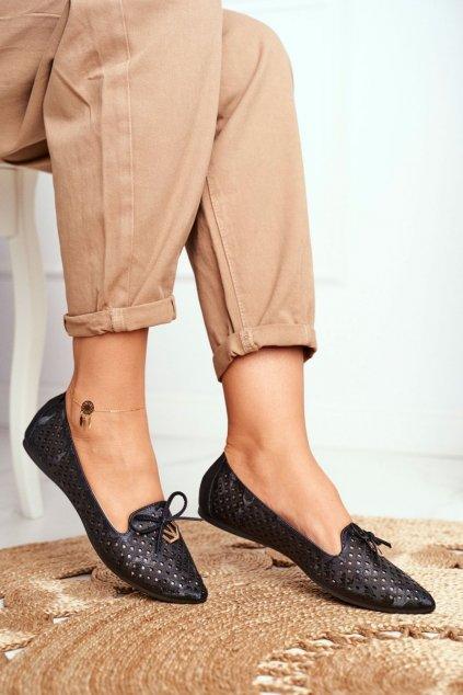Dámske balerínky farba čierna kód obuvi BOB20-18026 BLK