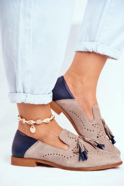 Dámske poltopánky farba hnedá kód obuvi 04484-04/00-5 BEIGE NAVY