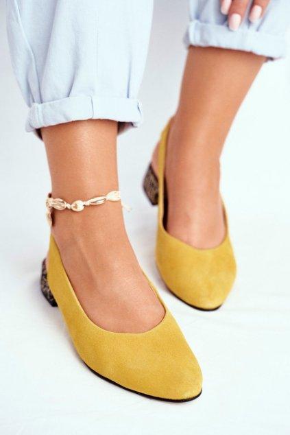 Dámske lodičky farba žltá kód obuvi 04482-07 YELLOW