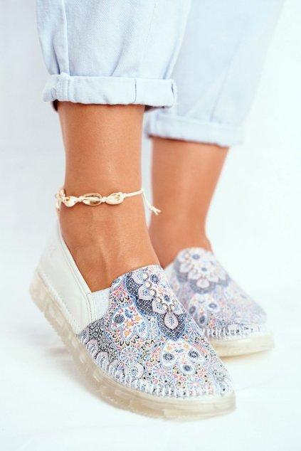 Dámske poltopánky farba biela kód obuvi 03512-46/00-0 WHITE NAVY