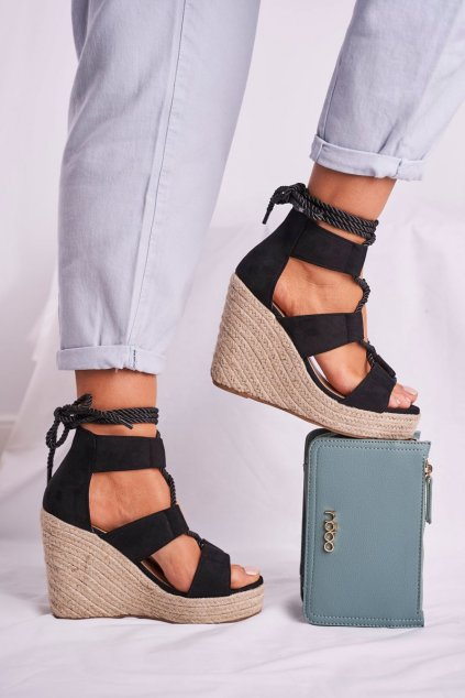 Dámske Sandále na platforme Semišové čierne Beautiful One