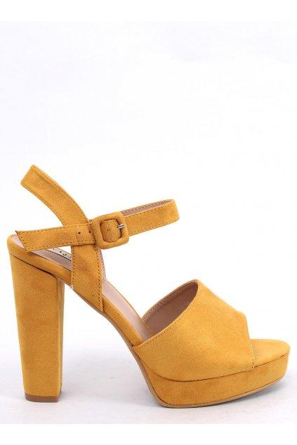 Damske sandále žlté na stĺpovom podpätku 9R16