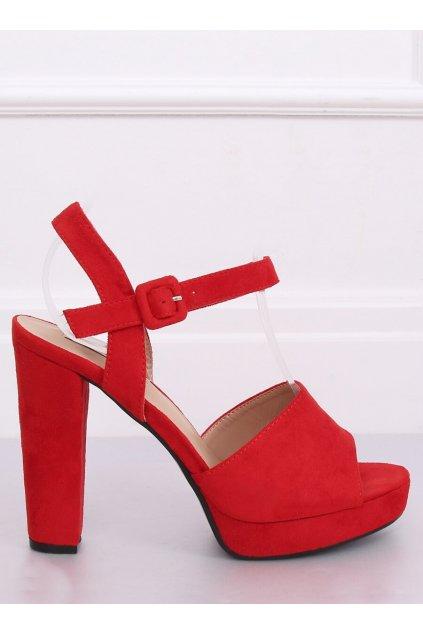 Damske sandále červené na stĺpovom podpätku 9R16