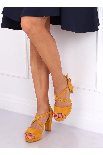 Damske sandále žlté na stĺpovom podpätku 9272