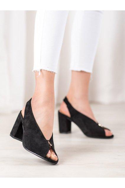 Čierne sandále na podpätku Vinceza kod XY20-10534B