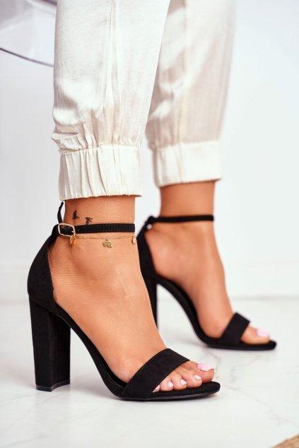 Dámske Sandále na podpätku Semišové čierne Anastasie